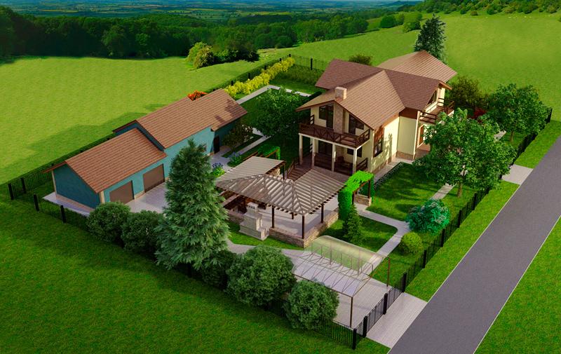 Дизайн участка перед домом 1 сотка